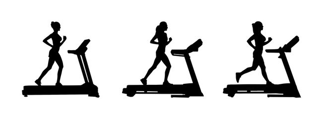 Set of female silhouettes on the treadmill.