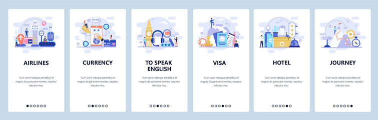 Mobile app onboarding screens. Travel icons, visa, passport, airport and currency exchange. Menu vector banner template for website and mobile development. Web site design flat illustration