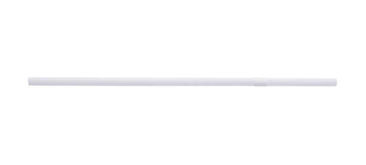 White plastic straw isolated on white background