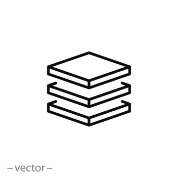 3 layer icon, stack level, height floor thin line web symbol on white background - editable stroke vector illustration eps10