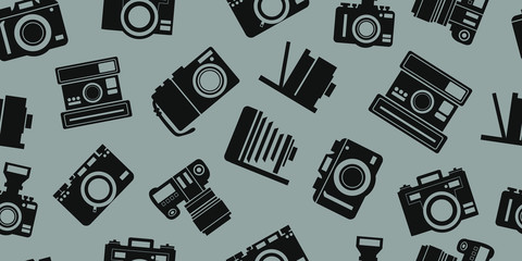 new and old camera background seamless pattern