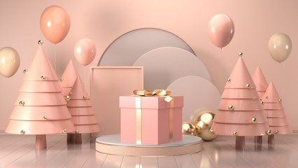 3d render image of christmas gift box decorate on podium pink pastel background.