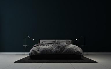 modern black elegant bedroom interior design and black wall background Fototapete