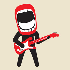 enthusiastically singing big mouth rock guitarist