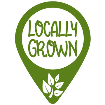 location marker with text LOCALLY GROWN and growing plant symbol vector illustration