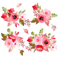 pink floral watercolor arrangement collection