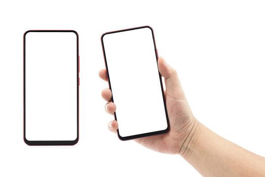 A man's hand holding a big screen blank smartphone