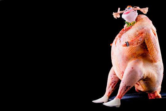 Surreal turkey. Chiken fashion moda.