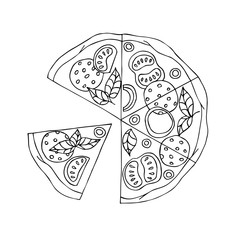 Pizza. Hand drawn coloring page. Hand drawn vector illustration.