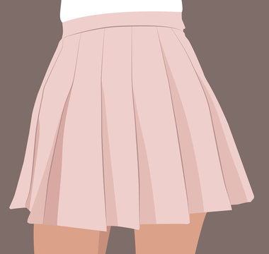 Midsection of woman wearing pale pink pleated skirt