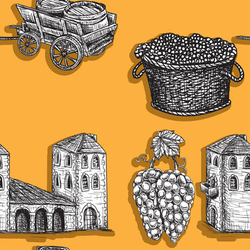 Seamless background agriculture viticulture building cart a barrel of grapes. Vector image.