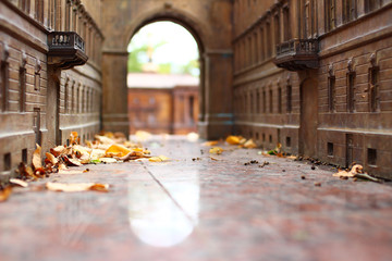 city in miniature. Autumn in the city. Arches and streets. Yellow leaves. Toy town. Fototapete