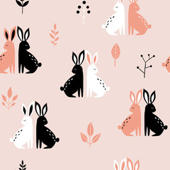 Seamless pattern with hares