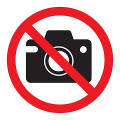 Prohibiting sign photo video shooting is prohibited, vector no photo, warning sign not to shoot, red circle crossed out camera. Isolated illustration on white background.