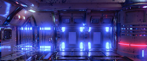 Fotomurales - 3D illustration of a futuristic room in a spaceship with blue and red neon lights. Cyberpunk industrial wallpaper. Grunge interior.