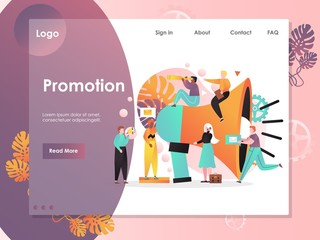 Promotion vector website landing page design template
