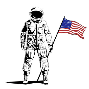 Astronaut with american flag stands on moon. Vector illustration.