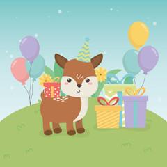 Aluminium Prints Cats cute fawn animal farm in birthday party scene