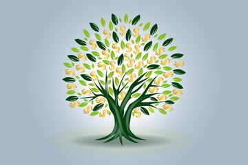 Money tree symbol of prosperity logo vector icon web image