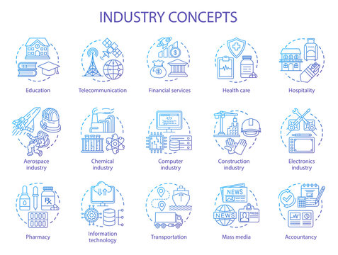 Industry concept icons set. Technology development. Manufacturing, provide service, research and development idea thin line illustrations. Vector isolated outline drawings. Editable stroke