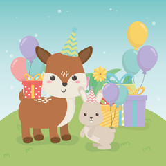cute fawn and rabbit in birthday party scene