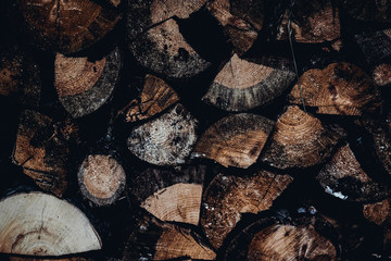 Photo sur Aluminium Texture de bois de chauffage Winter firewood store for kindling the stove background of the ends of the tree