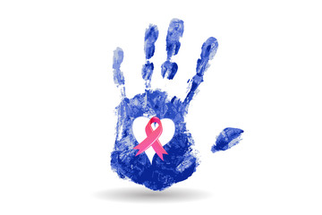 Hand print and pink ribbon awareness breast cancer logo vector image