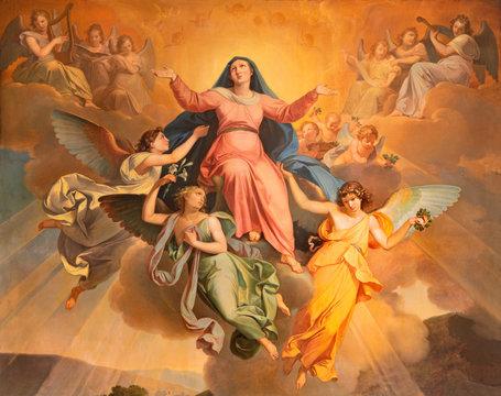 RIVA DEL GARDA, ITALY - JUNE 13, 2019: The part of the painting Assumption in church Chiesa di Santa Maria Assunta by Giuseppe Craffonara (1830).