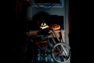 Fototapeten Fahrrad halloween october holiday orange pumpkin and candles