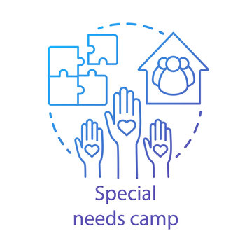 Special needs camp concept icon. Summer handicapped, charity club, community idea thin line illustration. Social aid, assistance organisation. Vector isolated outline drawing. Editable stroke
