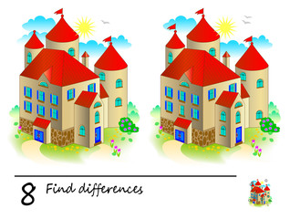 Find 8 differences. Logic puzzle game for children and adults. Printable page for kids brain teaser book. Illustration of medieval castle from fairy tale. Developing counting skills. IQ training test.