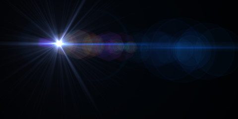 Lens flare light over black background. Easy to add overlay or screen filter over photos.