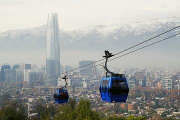 Santiago de Chile cityscape with cable car