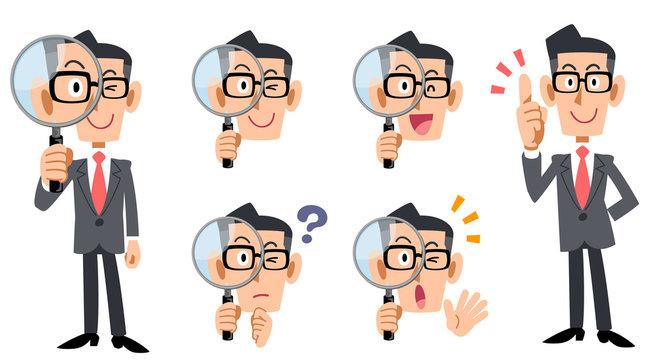 虫眼鏡で調査する眼鏡をかけたビジネスマンの全身と表情のセット