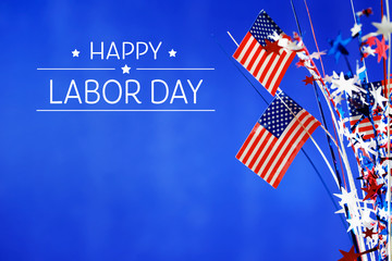 Labor day message with flag of the United States