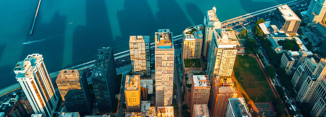 Foto op Aluminium Chicago Chicago cityscape with a view of Lake Michigan from above