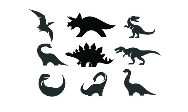 dinosaur set logo black icon design vector illustration