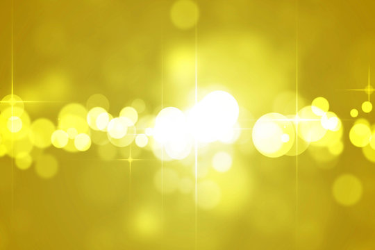Yellow Shimmering De-focused Lights With Stars