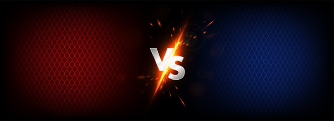 Dark Versus Battle. MMA concept - Fight night, MMA, boxing, wrestling, Thai boxing. VS collision of metal letters with sparks and glow on a red-blue background and octagon grid. Versus battle. Vector Fototapete