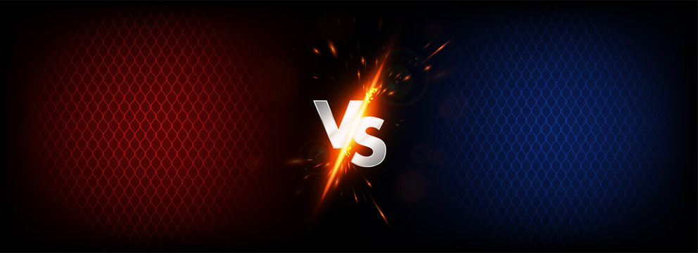 Dark Versus Battle. MMA concept - Fight night, MMA, boxing, wrestling, Thai boxing. VS collision of metal letters with sparks and glow on a red-blue background and octagon grid. Versus battle. Vector