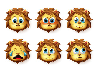 Lion animal emoji vector set. Cute emoji of lions face in sad and angry emotions and expressions isolated in white background. Vector illustration.
