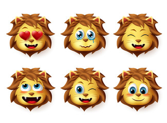 Lion animal emoji vector set. Lions emoticons with funny and inlove facial expressions for design elements isolated in white background. Vector illustration.