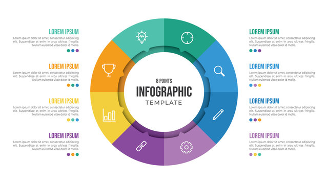 8 points circular infographic element template with icons and colorful flat style, can use for presentation slide