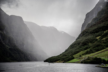 The UNESCO Naeroyfjord views from the cruise, near Bergen in Norway