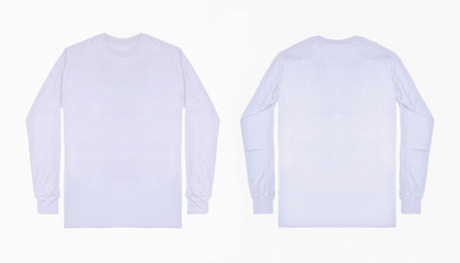 Blank plain white long sleeve t shirt front and back view isolated on white background. Set of long sleeve tee, ready for your mockup design