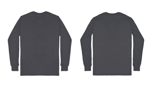 Blank plain dark grey long sleeve t shirt front and back view isolated on white background. Set of long sleeve tee, ready for your mockup design