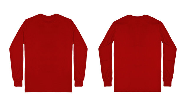 Blank plain red maroon long sleeve t shirt front and back view isolated on white background. Set of long sleeve tee, ready for your mockup design