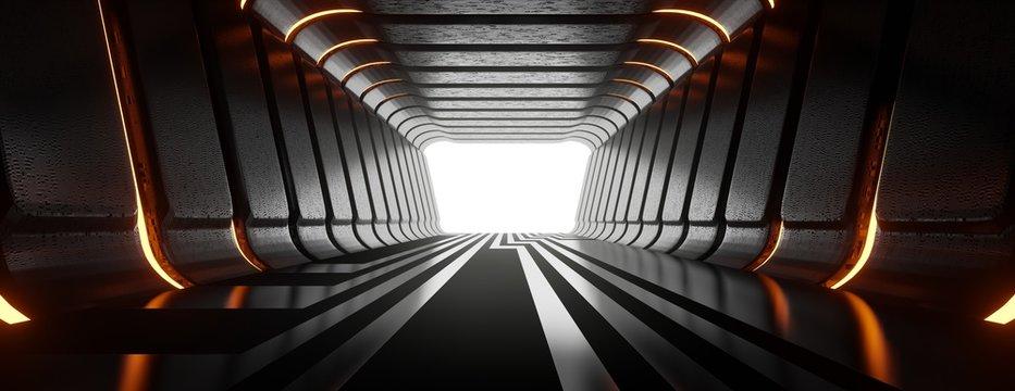 Illuminated corridor abstract tunnel. 3d illustrations