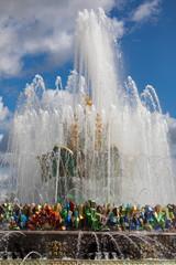 Stone Flower Fountain. Architecture of VDNKH park, popular landmark.