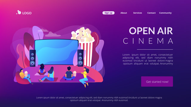 Movie night with friends. Watching film on big screen with sound system. Open air cinema, outdoor movie theater, backyard theater gear concept. Website homepage landing web page template.